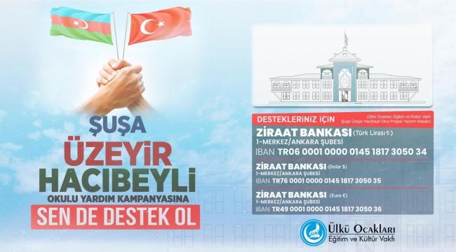 ÜLKÜ OCAKLARI'DAN KARDEŞ ÜLKE AZERBAYCAN'DAKİ OKUL PROJESİ İÇİN YARDIM KAMPANYASI