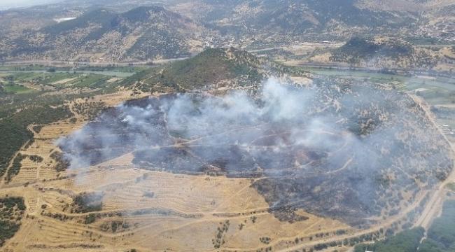 Menemen'de makilik ve zeytinlik alanda yangın çıktı