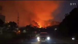 Alevler termik santrale girdi sirenler çalıyor